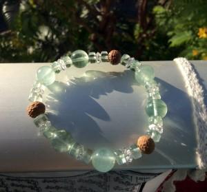 Bodhi seed green beryl fluorite mala